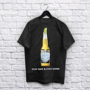 Coronavirus Stay Safe & stay home Black T-Shirt