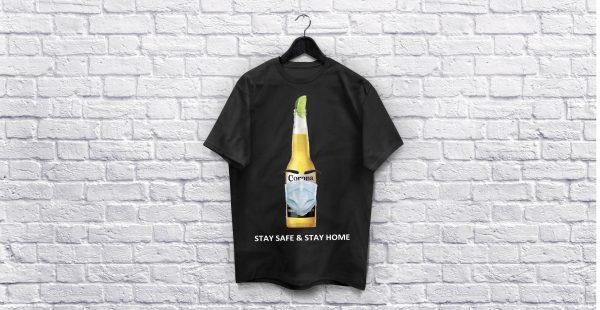 Coronavirus Stay Safe & stay home Black T-Shirt